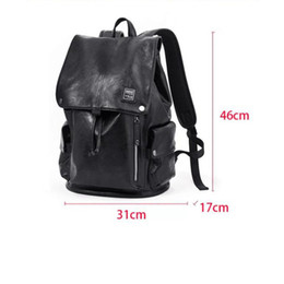 Wholesale Leather Fashionable Backpacks - 2018 New Genuine Leather Double shoulder pack Black school bag for Occident Style Female backpack Bags Fashionable travelling bag IT-27