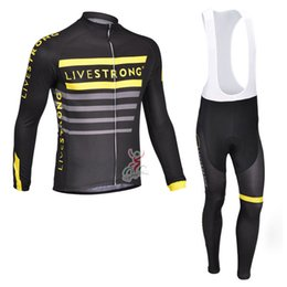 Wholesale Team Cycling Tights - LIVESTRON team Cycling long Sleeves jersey (bib) pants sets Tight Absorbent Quick-drying Cycling Basketball Fitness Elastic Jersey Set c1413