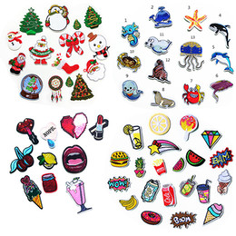 Wholesale Wholesale Christmas Iron Appliques - Wholesale set lot cartoon Christmas Beer ocean coke bag shoes Patch Embroidered Iron On bag Patches Badge Bag Fabric Applique Craft DIY