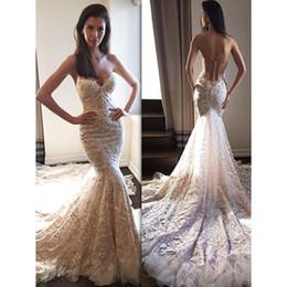 Bordado, casório, vestidos, desligado, ombro on-line-2019 Nova Moda Vestido De Noiva Bordado Rendas Sereia Vestidos De Noiva Querida Off The Shoulder Backless Vestido De Noiva Longo