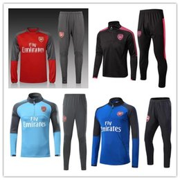 Wholesale Long Sleeve Adult Soccer Kits - Top thai quality 2018 ALEXIS OZIL adult long sleeve sportswear football tracksuits sets 17 18 gunners Training uniforms jacket+pants kit