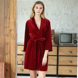 8837ed2b21 weiqiya 2018 Winter New Lady Robe Kimono Bathrobe Nightgown Thick Warm Long  Sleeve Sleepwear Bath Night Gown Pyjamas Womens