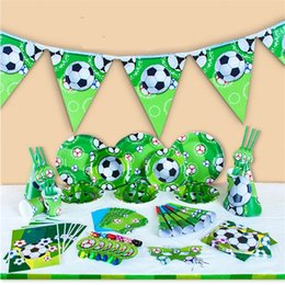 Wholesale plastic flags - Kids World Cup Sports Football Theme Dinnerware Birthday Party Supplies Tableware Set Napkin Cups Tablecloth Flag Party Decoration 35 7dk Z
