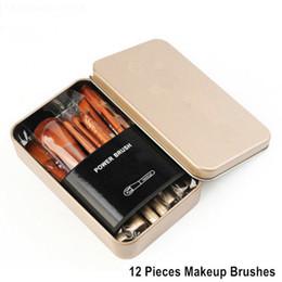 2019 brincadeiras de maquiagem 12 pcs Nude3 Conjuntos de Pincéis de Maquiagem Kit Make Up Brush Set caixa de Metal Embalagem brincadeiras de maquiagem barato