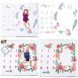 Wholesale unicorn red - 100*100cm Newborn Baby Blanket For Photos Background Photography Unicorn flower Print Monthly Growth Milestone Props KKA4787