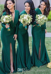 Wholesale Emerald Wedding Dresses - 2018 Emerald Green Bridesmaid Dresses Long Sleeves Deep V-Neck High Split Mermaid Wedding Party Dress Guest Formal Prom Gowns