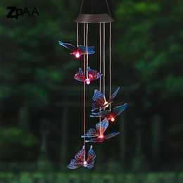 Wholesale Outdoors Decor - Outdoor LED Solar Lamp Hummingbirds dragonfly Wind Home Garden Decor Solar Light Solar Powered Color-Changing Wind Chime Light