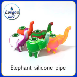Tazones de elefante online-Venta al por mayor de Silicon Rig Elephant Silicon Pipe Pipe Hand Pipe Hookah Bongs Silicon Oil Dab Rigs con recipiente de vidrio 487