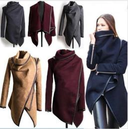Bonnes marques de manteaux d'hiver en Ligne-Femmes Mince Chaud Hiver Trench À Long Manteau Asymétrique Veste Outwear Parka S-3XL Brand New Bonne Qualité Livraison Gratuite