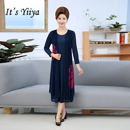 96452d2d2df It s Yiiya Mother of the Bride Dresses O-Neck Full Sleeve Chiffon Plus Size  Fashion Designer Vintage Mother Dress M070