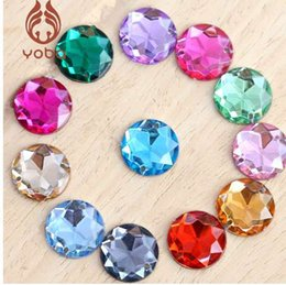 Wholesale acrylic sewing stone - 100pcs 8mm Mixed Color Sewing Stones Crystal Sew On Rhinestones Flatback Acrylic Strass Round Chamfering For Wedding Dress Y3493