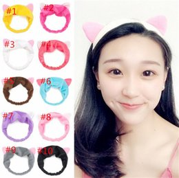 Wholesale Hair Band Ear Cat - Girls Casual Cartoon Elastic Headband Moon Embroidered Pattern Cat Ears Hair Band B11