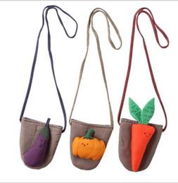 Wholesale handbags princess - NEW Ins Euro Fashion Girl Lolita Style Little Girl Vigatable Design Princess Handbags Fashion 100% cotton kids Child Satchel high quality