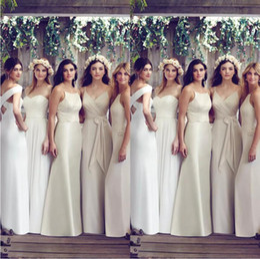 robes de demoiselle d'honneur Promotion 2019 robes de demoiselle d'honneur bon marché série ivoire spaghetti étage longueur plus la taille invités de mariage robe robes de soirée sur mesure robes formelles