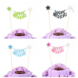 Wholesale Happy Birthday Flags - Happy Birthday Theme Cake Flag Shiny Star ECO Friendly Cup Cakes Tag Beautiful Baking Decoration Props New 1 5hw Z