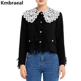 Autumn Runway Women Vintage Tassel Houndstooth Tweed Short Jacket Coat  Ladies Casaco Lace Single-breasted Black Jacket Overcoat f84fef7e1
