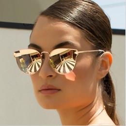 2019 cáncamos de color Arrow Shapes Diseñador de la marca Mujeres de oro rosa Espejo Ojo de gato Gafas de sol Metal Nariz pad Gafas de sol Vintage Cateye Precio al por mayor rebajas cáncamos de color