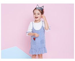 Wholesale Chinese Two Piece Dress - 2pcs Girls' Dresses blue stripe Card boy embroidery sweet Simple Sling dress Baby two-piece suit wholesale