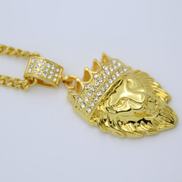 lion pendants wholesale Coupons - New Arrivals Hip Hop Gold Plated Lion Head Pendant Men Necklace King Crown Iced Out Fashion Jewelry For Gift Present