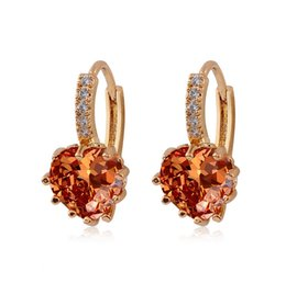 Wholesale Color Stone Earrings - whole saleH:HYDE 1 pair gold Color heart 100% CZ Cubic Zirconia Stone woman hoop earrings For Christmas gift pendientes mujer moda