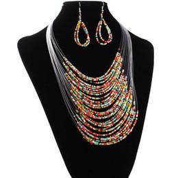 Bohemia Moda katmanlı stil kadınlar için dokuma çok Boncuk Kolye Küpe Set Parti Olay Malzemeleri Takı cheap fashion beads jewelry sets nereden moda boncuk takı setleri tedarikçiler