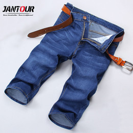 8bf2c935242 Discount men cargo capri pants - Summer Hot Denim Capri Breeches Knee  Length jeans 2018 blue