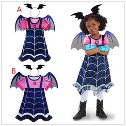 Wholesale Baby Costume Wings - 2PCS Sets Vampirinas Cosplay Costumes Baby Girls Princess Dresses Headband Hair Hoop Kids Wing Christmas Clothing Fancy Dress Party 2018 New