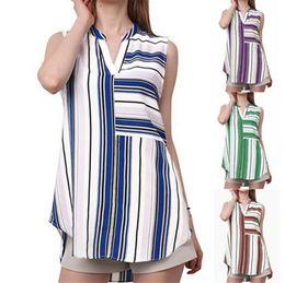 25ddaf2b8e4 Fashion Women s Casual Tunic Blouse Elegant V Neck Sleeveless Striped  Blouses Shirt Tops Plus Size S-5XL