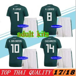 Wholesale Sports Jersey Kits - 17 18 Mexico Home Green Soccer Jerseys 2017 2018 Top quality soccer sets CHICHARITO R.JIMENEZ sports kits mens football uniforms