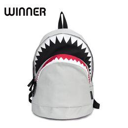 Wholesale Cartoon Cool Boy - Cool Schoolbag Big Shark Cartoon Backpack Black Bookbags Fashion primary school Backpacks Boys Rucksack Bagpack
