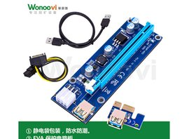 Wholesale Usb Extender Cables - Ver009S 60cm PCI-E Riser Express 1X 4x 8x 16x Extender Riser Adapter Card SATA 15Pin-6Pin USB 3.0 60cm Power Cable With Led Free DHL