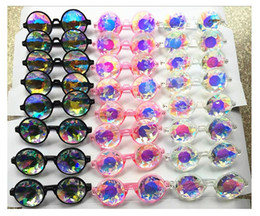 Wholesale Rave Sunglasses - Fashion Geometric Kaleidoscope Glasses Rainbow Rave Lens Bling Bling Prism Crystal Diffraction Sunglasses Black Pink Clear 100Pcs
