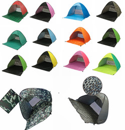 Wholesale ultralight person tent - 14 Colors Ultralight Folding Tent Pop Up Automatic Open Tent Family Tourist Fish Camping Anti-UV Fully Sun Shade DDA558