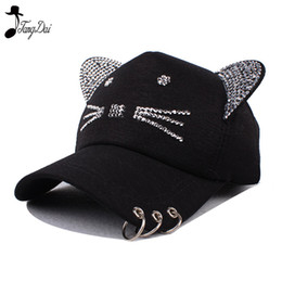Rhinestone Snapback Cute Cat Ears Cartoon Set auger Baseball Cap Women  Casual tricyclic Sun Hat Gorras Bones Casquette for Woman bef4f5ff22b5