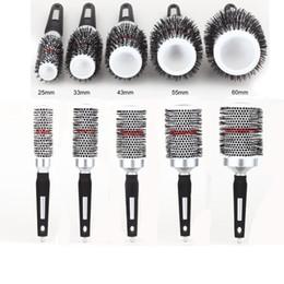 Wholesale Hair Thermal - Wholesale- 2016 Ceramic Hair Brush Thermal Ceramic & Ionic Round Barrel Hair Brush Aluminum Tube Comb Double Sided Round Brush 25-60mm