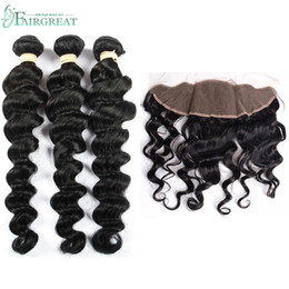 Wholesale 12 X 16 - Fairgreat Virgin Human Hair 3 Bundles With 13 x 4 Lace Frontal Loose Wave Weft 100% Human Hair Extensions Natural Color Wholesale price