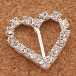 fibbie a nastro per inviti di nozze Sconti 60pcs / lot 10mm Bar 20mm piccolo cuore strass fibbie invito nastro cursore forniture di forniture matrimoni matrimoni eventi