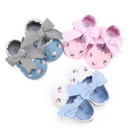 3 couleurs doux fond anti-dérapant bébé premier Walker chaussures enfants fille broderie florale impression bébé chaussures ? partir de fabricateur