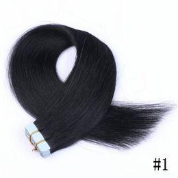 Extensions de cheveux pu en Ligne-# 1b PU Extensions de cheveux de bande de trame de peau 100g 40pieces Brésilienne de cheveux humains droite dans les extensions de cheveux FDSHINE