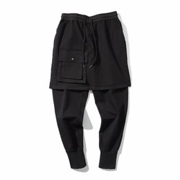 Wholesale flat front pants - 2018 Harajuku Front Layered Construction Jogger Pants Slim Fit Multi-pockets Stretch Twill Cargo Pants Free Shipping