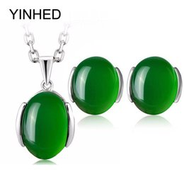 Wholesale natural jade jewelry set green - YINHED Luxury Natural Green Crystal Wedding Jewelry Sets 925 Sterling Silver Pendant Necklace and Stud Earring Jewelry Set ZS055