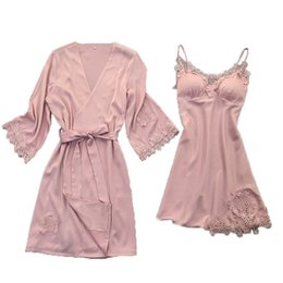 Wholesale lace nighties pink - Sexy Women Hollow Out Lace Flower Pink Robe Gown Sets XL Padded Nighties Bathrobe Nightdress Sets
