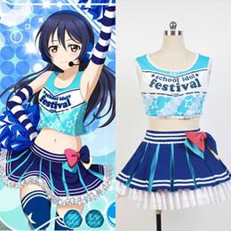 Wholesale Top Halloween Costumes For Women - LoveLive! Love Live Sonoda Umi Cheerleaders Uniform Vest Top Skirt Anime Halloween Cosplay Costumes For Women Custom Made