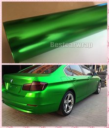 Wholesale decal car body sticker - Luxury Frozen Green Satin Chrome Vinyl Car Wrap Film with air bubble Free For Truck Car Wrapping Graphics decals 1.52x20m
