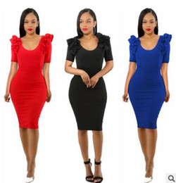 Wholesale Tight Short Skirt Sexy Women - Fashion women sexy dress U-collar Lace zipper tight skirt Casual party dress ladies clothing 3 color red black blue