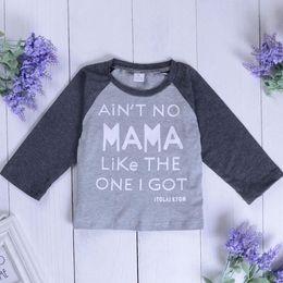 2020 ropa negra de moda Niños bebés varones camiseta de manga larga Carta Imprimir Gris Negro Tee Tops al por mayor para recién nacido Baby Boy Kids Ropa artículos de moda 6M-5T rebajas ropa negra de moda
