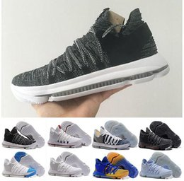 Wholesale Kevin Durant Easter Shoes - 2018 New Zoom KD 10 Anniversary PE Oreo Red Men Basketball Shoes KD 10 X Elite Low Kevin Durant Grade School Sport Sneakers