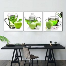 3 Panneaux Nordique Toile Wall Art Affiche Frais Vert Thé Vert Apple Restaurant Cuisine Décoration Sans Cadre Peinture ? partir de fabricateur