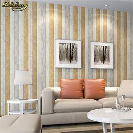 Wholesale Vertical Striped Wallpaper - beibehang Mediterranean style nostalgic wood grain wallpaper living room bedroom TV retro vertical striped papel de parede