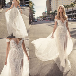 Wholesale muse black - Muse By Berta 2018 Wedding Dresses Sexy Spaghetti Off Shoulder Lace Applique Bridal Gowns Summer Beach High Side Split Wedding Dress